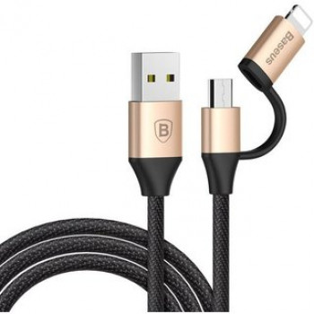 USB кабель 2в1 microUSB/8pin для iPhone 5/6/7 BASEUS CAMLYW-1V 1м