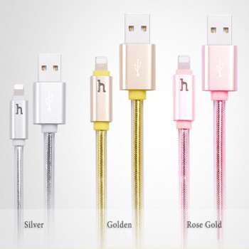 USB кабель 8pin для iPhone 5/6/7 HOCO UPL12 Metal Jelly Knitted  Lightning Charging Cable (Smart Light)
