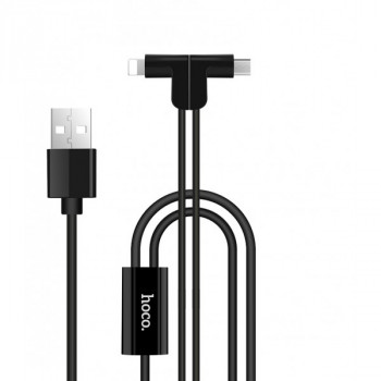 USB кабель 2в1 microUSB/ 8pin для iPhone 5/6/7 HOCO X12 One pull two L shape magnetic adsorption charging cable