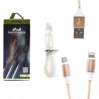 USB кабель 2в1 microUSB/iPhone 5/6/7 AWEI CL-70